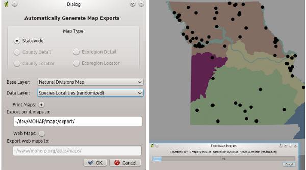 QGIS Maps Historic Herpetofaunal Records (in Missouri, USA)